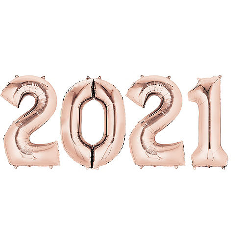 Giant Rose Gold 2021 Balloons, 35in, 4pc Image #1