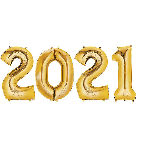 Giant Gold 2021 Balloons, 35in, 4pc Image #1