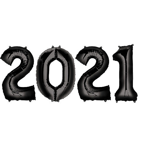 Giant Black 2021 Balloons, 35in, 4pc Image #1