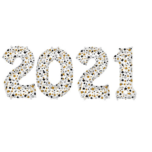 Giant Black, Gold & Silver Confetti 2021 Balloons, 35in, 4pc Image #1