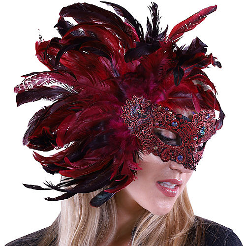 Scarlet Venetian Masquerade Mask Image #2