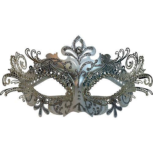 Silver Swan Masquerade Mask Image #1