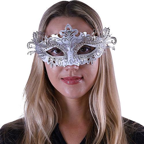 Silver Swan Masquerade Mask Image #2