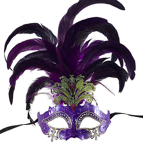 Purple Feather & Gold Filigree Masquerade Mask Image #1