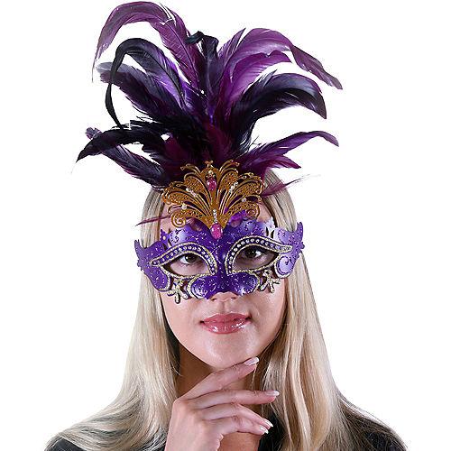 Purple Feather & Gold Filigree Masquerade Mask Image #2