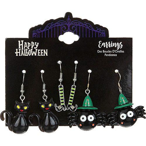 Black Cats, Spider Sorcerers & Witch's Feet Halloween Earring Set, 3ct Image #1