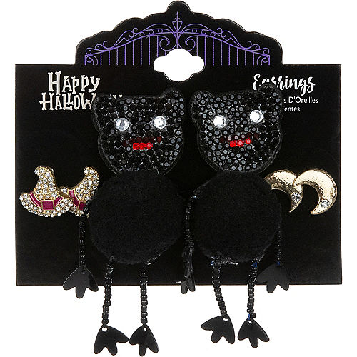 Witches, Cats & Moons Halloween Earring Set, 3ct Image #1