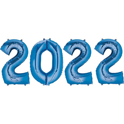 Giant Blue 2021 Balloons, 35in, 4pc Image #1