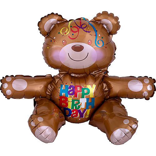 Air-Filled Sitting Birthday Bear Balloon, 15in Image #1