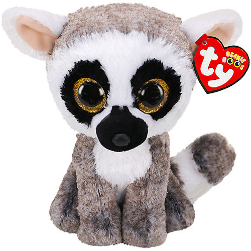 Linus Beanie Boos Gray & White Lemur Plush Image #1