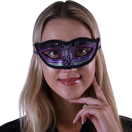 Black & Rainbow Masquerade Mask Image #1