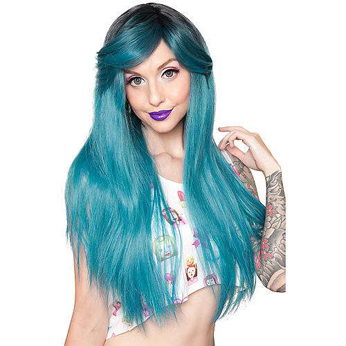 Dark Roots Turquoise Wig Image #1