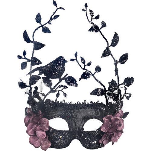 Black Bird & Rose Vines Masquerade Mask Image #1