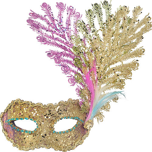 Purple, Green, & Gold Peacock Feather Masquerade Mask Image #1