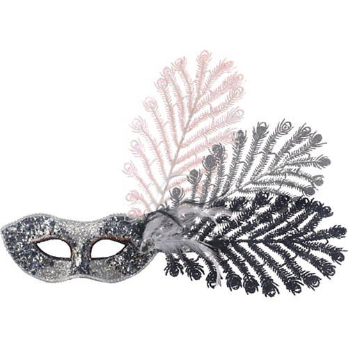 Black, Silver, & Pink Peacock Feather Masquerade Mask Image #1
