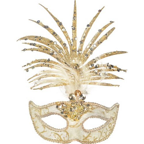 Gold Palm Leaf Masquerade Mask Image #1