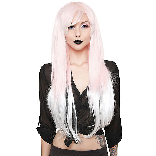 Pink to White Ombre Wig Image #1