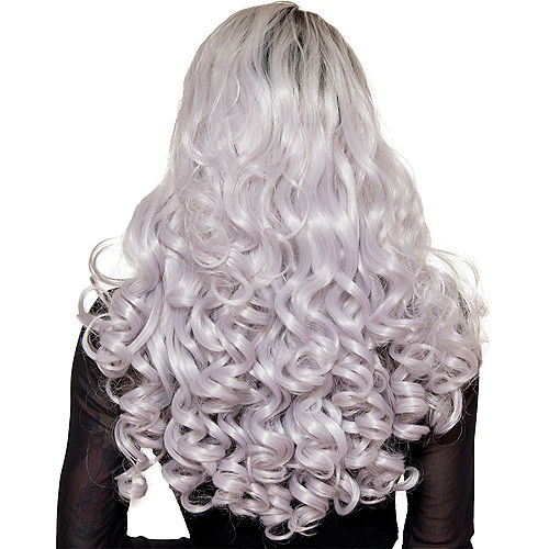 Lace Front Dark Roots Curly Silver Wig Image #2