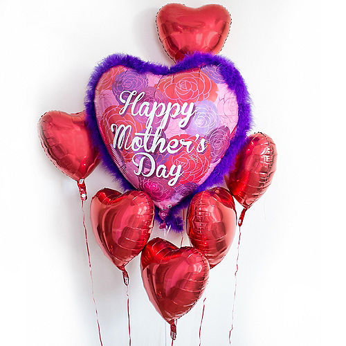 Red Mother's Day Heart Balloon Bouquet, 7pc Image #1
