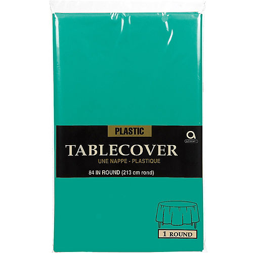 Brilliant Teal Plastic Round Table Cover Image #2