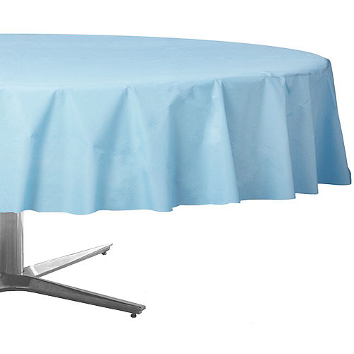 Sky Blue Plastic Round Table Cover Image #1