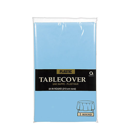 Sky Blue Plastic Round Table Cover Image #2