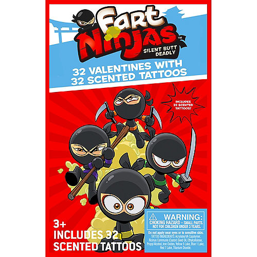 Fart Ninjas Valentine Exchange Cards with Scented Tattoos 32ct Image #1