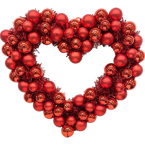 Red Heart Ornament & Tinsel Wreath Image #1