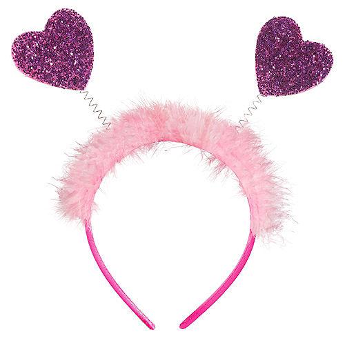 Glitter Pink & Purple Heart Head Bopper Image #1