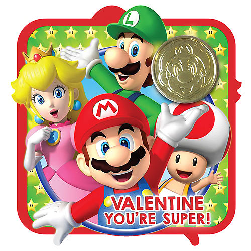 Super Mario Brothers Valentine Exchange Cards With Coins 16ct Image #1