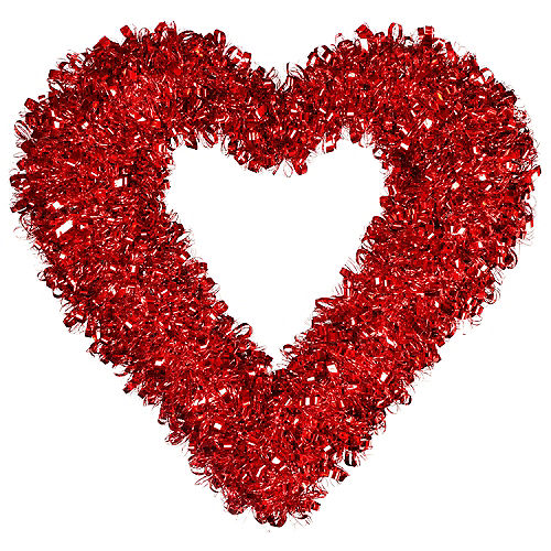 Red Heart Tinsel Wreath Image #1