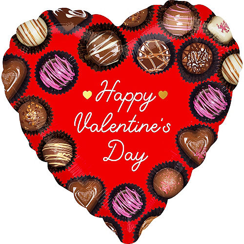 Chocolate Truffles Happy Valentine's Day Heart Foil Balloon, 17in Image #1