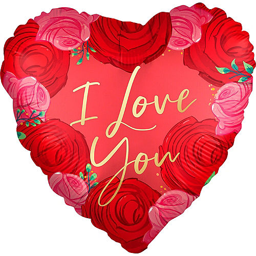 Pink & Red Rose Satin I Love You Heart Foil Balloon, 18in Image #1