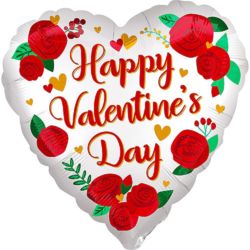 White Satin Red Rose Happy Valentine's Day Heart Foil Balloon, 18in Image #1