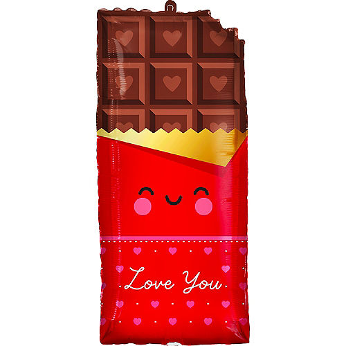 Love You Chocolate Bar Foil Balloon, 13in x 28in Image #1