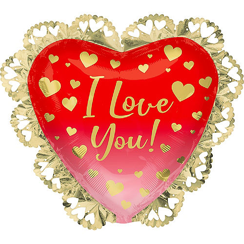 Gold, Pink & Red Ombre I Love You Heart Foil Balloon, 23in x 21in Image #1