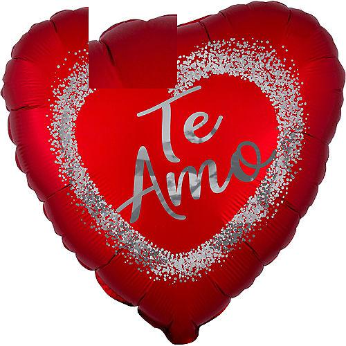 Red & Silver Satin Te Amo Heart Foil Balloon, 17in Image #1