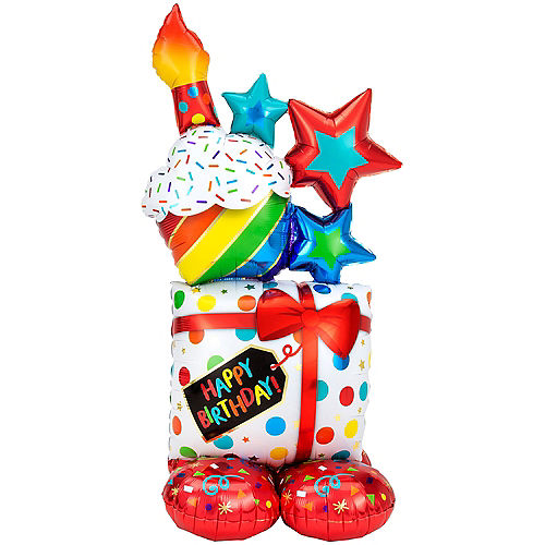 AirLoonz Stacked Birthday Icons Balloon, 55in Image #1