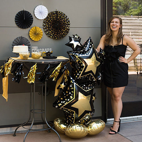 AirLoonz Black & Gold Star Cluster Balloon, 59in Image #2