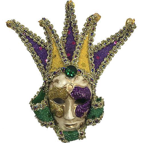 Mardi Gras Jester Face Mask Ornament Image #1