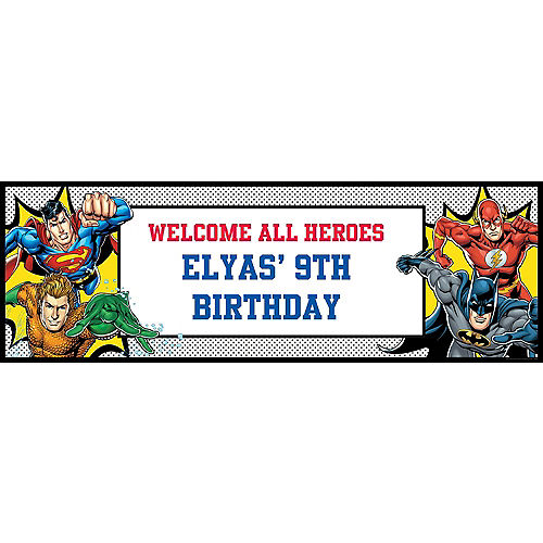 Custom Justice League Heroes Unite Horizontal Banner Image #1