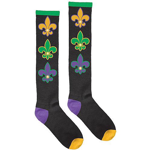 Adult Light-Up Mardi Gras Fleur-de-Lis Knee-High Socks Image #1