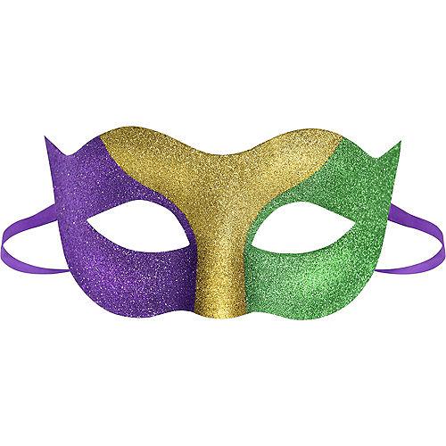 Glitter Mardi Gras Tricolor Masquerade Mask Image #1