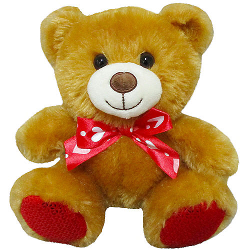 Light Brown Teddy Bear Plush with Ribbon Bow Image #1