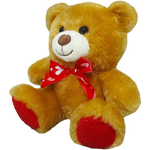 Light Brown Teddy Bear Plush with Ribbon Bow Image #2