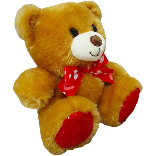 Light Brown Teddy Bear Plush with Ribbon Bow Image #3