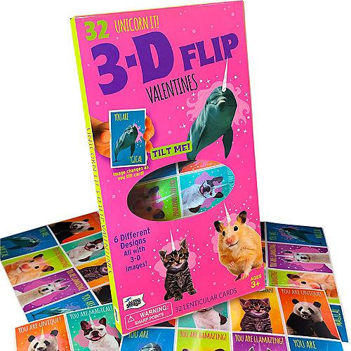 3D Flip Unicorn It Valentine Exchange Cards 32ct Image #1
