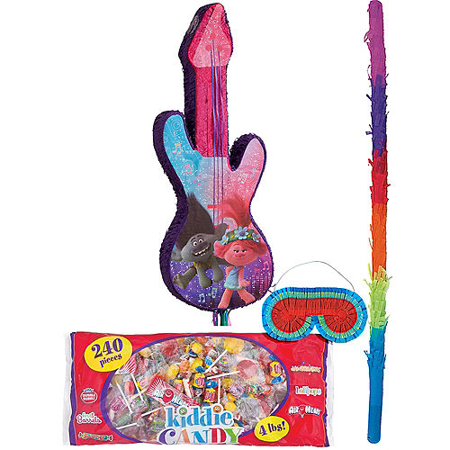 DreamWorks Trolls World Tour Pull String Guitar Pinata Kit with Candy Image #1