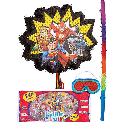 Justice League Heroes Unite Pull String Pinata Kit with Candy Image #1