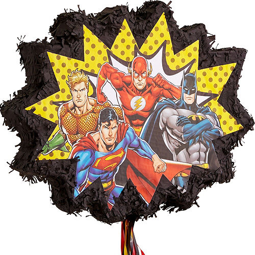 Justice League Heroes Unite Pull String Pinata Kit with Candy Image #4